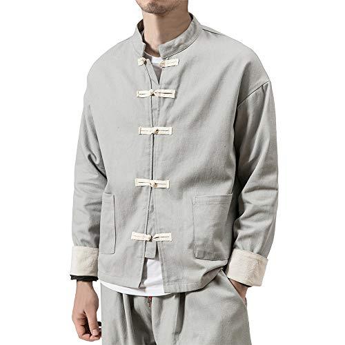 Tasty Life Veste Décontractée pour Hommes Bouton Chinois Coton Lin Vêtements De Tai Chi Traditionnel Chinois Kung Fu Col Montant Lin Lâche Tang Costume Unisexe(XXL,Gray)