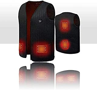 WORLD-BIO Heated Warm Vest, USB Charging Electric Gilet, Temperature & Size Adjustable Heating Clothes, Large Body Warmer Perfect for Outdoor Hike, Fishing, Camping, Hunting, Pain Relief