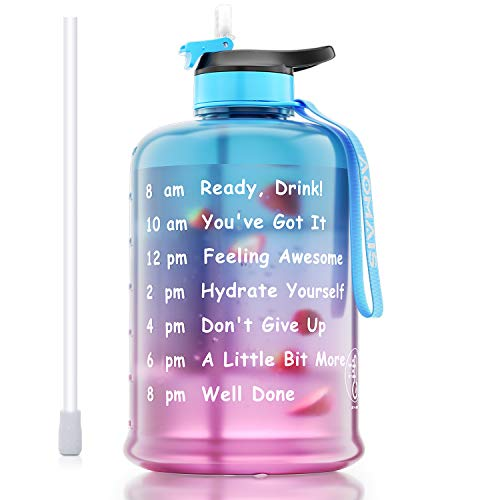 AOMAIS Motivational Gallon Water Bottle With Time Marker, Straw, Big Water Jug, Wide Mouth Leak proof lid with Spout, BPA free Reusable Plastic Bottles for Running Sports Fitness Outdoor