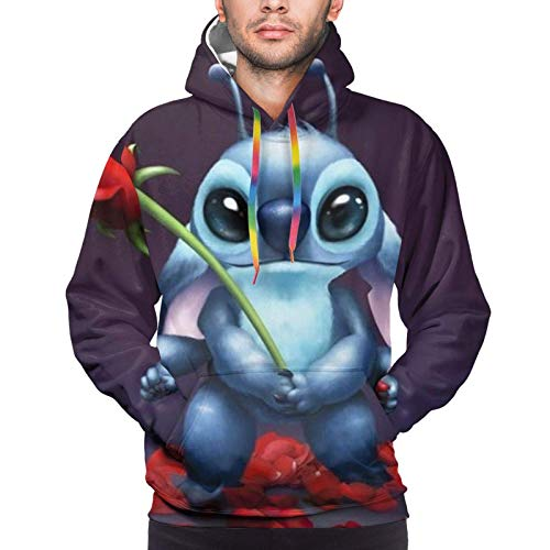 Bgejkos Stitch Lilo Herren Hoodie mit Fronttasche Sweatshirts 3D Print Kordelzug Pullover S-XXXL
