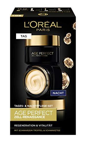 L'Oréal Paris Age Perfect Zell-Renaissance Geschenkset, Tag und Nacht Gesichtscreme mit schwarzem Trüffel und Schwarztee, Anti-Falten Pflege, regeneriert & vitalisiert reife Haut, 2x 50ml