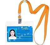 Aobear - 50 unidades de tarjetas identificativas de alta calidad, impermeables, transparentes, para nombre horizontal y 50 cordones (naranja)