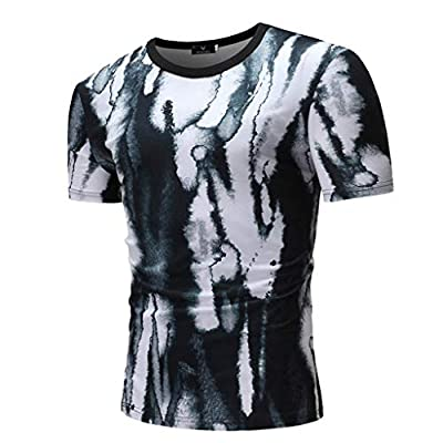 JustWin Men's Round Collar Print T-Shirt Short Sleeve Creative Dyeing Ink Style Novel Slim Fit T-Shirt