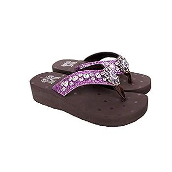 Montana West Wedge Flip Flops For Women Bling Comfort Flip Flop Slippers Embroide Comfortable Western Wedge Sandals Purple Size 8 SE94-S001PP 8