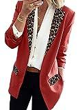 Mujeres Slim Blazers Chaqueta Abrigo Manga Larga Leopardo Solapa Open Front Blazer Outwear Rojo L