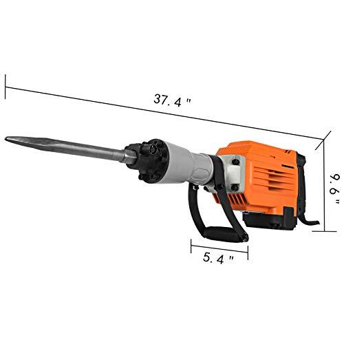 Mophorn 3600W Electric Demolition Hammer Heavy Duty Concrete Breaker 1800 RPM Jack Hammer Demolition Drills with Flat Chisel Bull Point Chisel (3600 W)