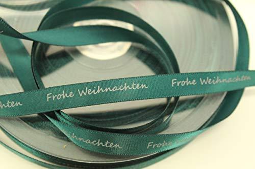 CaPiSo® 50m 10mm Geschenkband,Schleifenband Weihnachtsband Weihnachten mit Schrift Frohe Weihnachten (Grün)