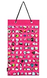PACMAXI Hanging Brooch Pin Organizer, Display Pins Storage Case, Brooch Collection Storage Holder, Holds Up to 96 Pins.(Not Include Any Accessories) (Rose Red)