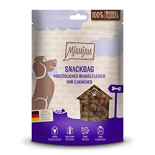 MjAMjAM - Premium Hundesnack - Snackbag - vorzügliches Muskelfleisch vom Kaninchen, getreidefrei, Monoprotein, 100g, 45201