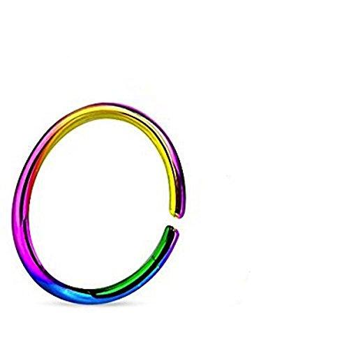 1MM x 6mm arcobaleno di titanio anodizzato bordi arrotondati Ricotto senza saldatura Tragus, cartilagine o Setto Piercing