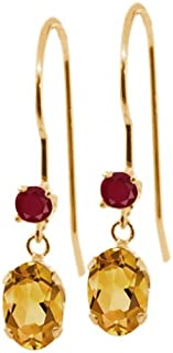1.04 Ct Oval Yellow Citrine Red Ruby 14K Yellow Gold Earrings
