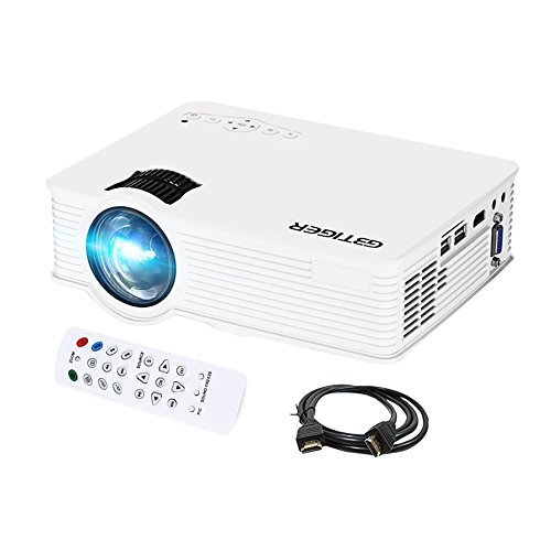 GBTIGER 2200 Lumens Full HD 1080P Portable Mini Projector 1920 x 1080 Pixels 20000Hours Lens Life times LCD LED Projector Home Theater, AV/HDMI/VGA/USB (White)