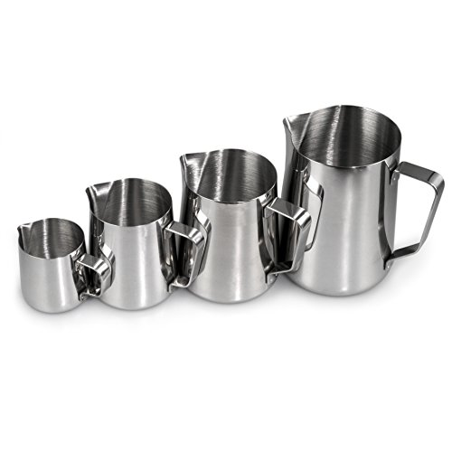 YouZiNGS - Set di 4 bricchi per latte in acciaio inox, 1 bricco da 1000 ml, 1 da 500 ml, 1 da 350 ml, 1 da 150 ml, per montare il latte, schiumalatte da barista, colore argento
