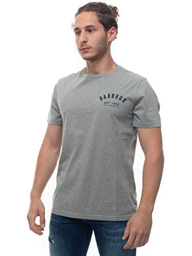 Barbour T-Shirt mit Rundhalsausschnitt, halblanger Ärmel, BATEE0374, Grau, Baumwolle, Herren, Grau Small