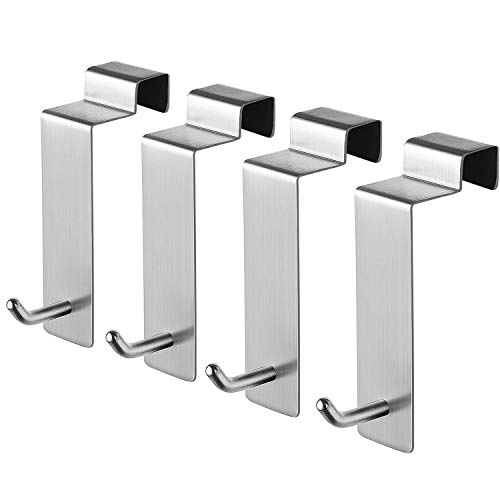 KEGII Türhaken Edelstahl Gebürstet - Kleiderhaken über Tür, Badezimmerhaken Türhänger 4 Stück