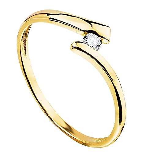 Anillo de mujer compromiso aniversario Cruzado oro amarillo 18 kilates 750 Mls circonita ideal pedida de mano (10)