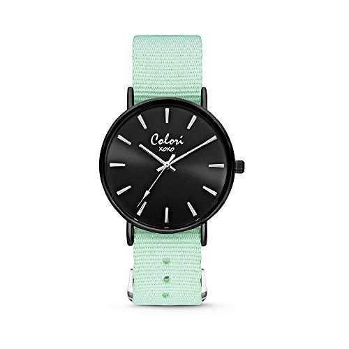 Colori XOXO 5-COL548 - Horloge - nato band - medium groen - ø 36 mm