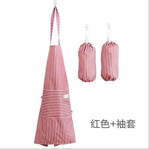 mhde Schürzen Polyester Erwachsener Frauen -Dame -Küche Schürzchen + Sleeve Set Schürzen Kit Wasserdichtes OilRed