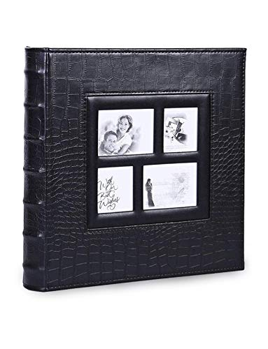 Photo Picture Album Extra-Large Capacity 500 6×4 Horizontal and Vertical Photos for Wedding Anniversary Family Baby Travel Photos Leather Cover (Black)