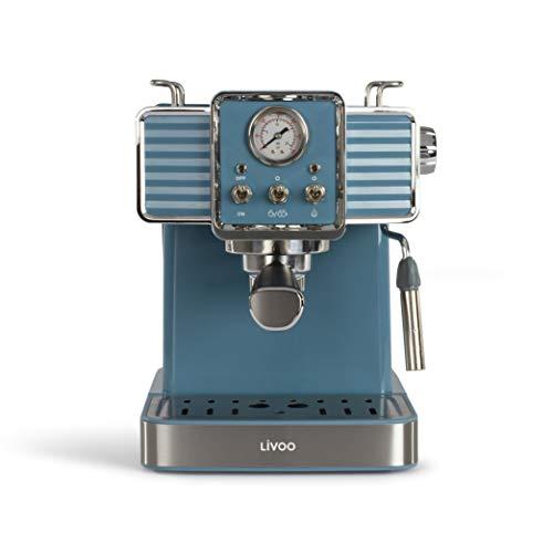 Livoo DOD174 - Cafetera de café espresso (15 bares, calentador Thermoblock   Boquilla de vapor para capuchino, leche caliente   Aspecto retro azul 1300 W