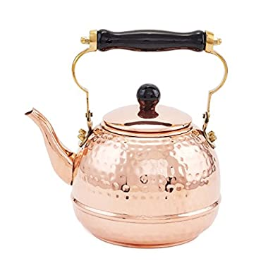 Old Dutch Hammered Copper Teakettle with Wood Handle, 2 Qt.