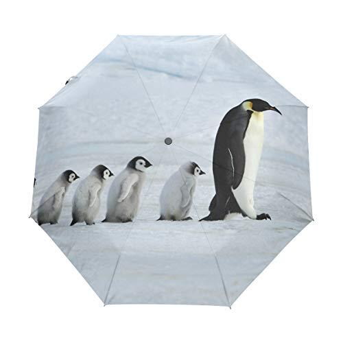 MyDaily Regenschirm mit niedlichem Pinguine zum Reisen, automatischer Öffnung, UV-Schutz, Winddicht, leicht, kompakt, faltbar