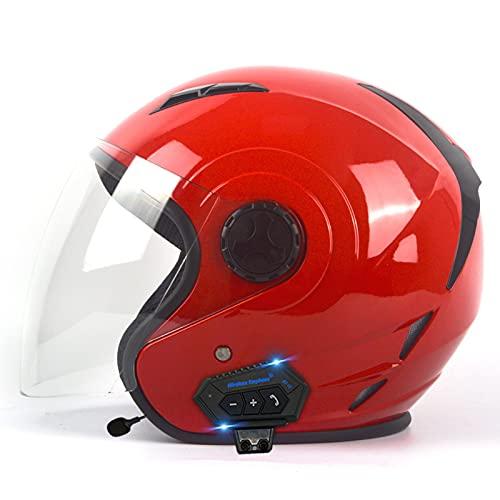 Casco Bluetooth de cara abierta con visera, casco de motocicleta 3/4, cascos de ciclomotor retro para adultos hombres y mujeres, casco de motocicleta de media cara aprobación ECE,5,XL