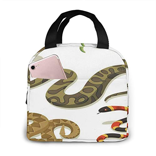 OMQFEW Lunchtasche Lunchbag für Damen/Kinder, Kühltasche Lunch Tasche Picknicktasche Isoliertasche Thermotasche Zur Arbeit Schule Picknick Anaconda Giftig