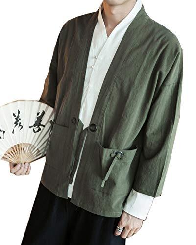 Aden Herren Sommer Retro Japan Happi Kimono Haori Jacke Stickerei Übergangsjacke Mantel