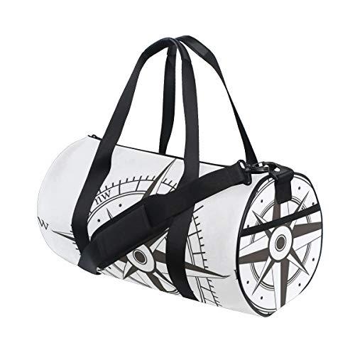 ZOMOY Sporttasche,Wind Rose Old Fashion Navigationsgeräte Orientierungslauf,Neue Bedruckte Eimer Sporttasche Fitness Taschen Reisetasche Gepäck Leinwand Handtasche