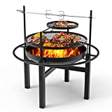 """Signstek 32"""" Fire Pit,Outdoor Wood Burning Steel BBQ Backyard with Cooking Grill,23"""" Fire Pit Bowl Set,Round Spark Screen,Camping Picnic,Garden,Beaches,Park,Bonfire,Rotating spit,Roast Chicken Fork"""