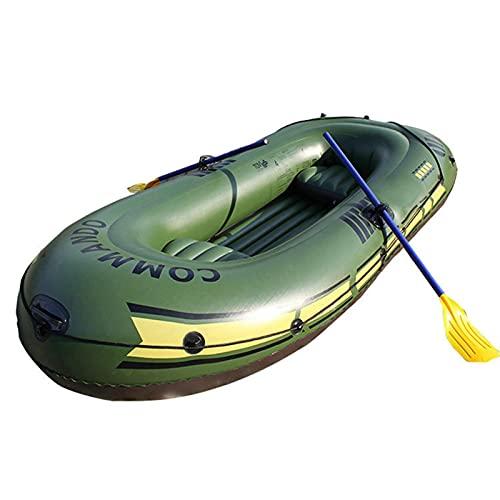 Jiaermei - Barco hinchable para barco de asalto de lata de pato portátil plegable para 2/3 personas, barco de pesca en barco de PVC grueso