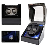 ORYX Watch Winder Box for Automatic Watches Double, Watch Winders Suitable for 3 Sizes Watches with LED Light, Ac or Battery Powered Super Quiet Motor(Black+Black)