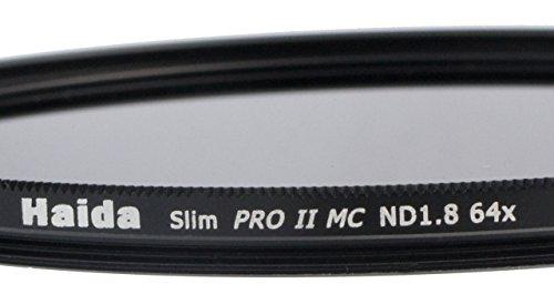HAIDA Slim Graufilter PRO II MC (mehrschichtvergütet) ND1.8 (64x) 82mm. Schlanke Fassung + Cap mit Innengriff