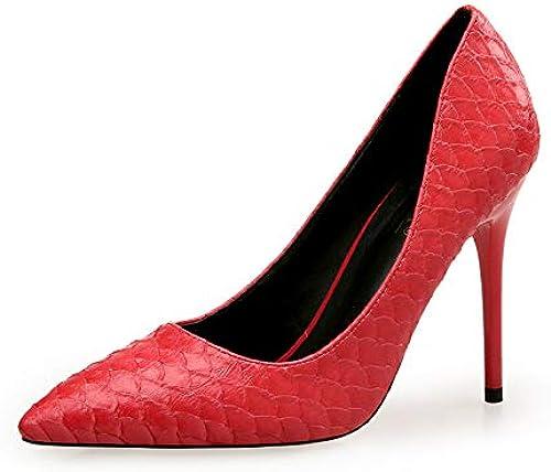 FLYRCX Cuir Cuir Serpentine Pointu Sexy Bouche Peu Profonde Talons Hauts Chaussures Simples Les Les dames Bien avec des Chaussures de Parti Chaussures de Travail  vente directe d'usine