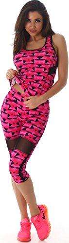 SL1 Damen Sport-Anzug Sport-Shirt Sport-Hose Trainingsanzug Set Zweiteiler Gymnastik Outfit Fitness-Set Top Sport-Leggings Capri, Pink LXL