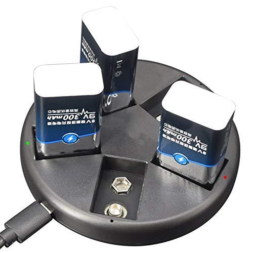 Leyeet Cargador de batería de 5 ranuras 9V Cargador de baterías para baterías recargables de 9V Ni-MH/Li-ion