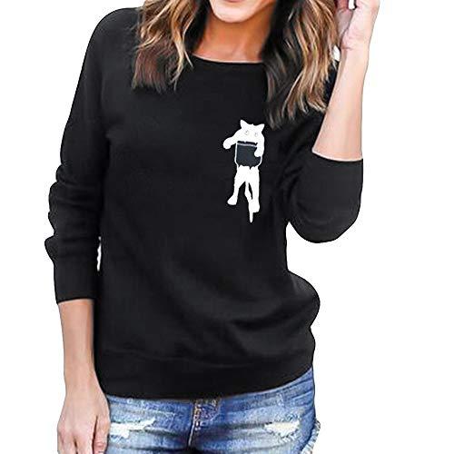 Frauen Plus Size Solide Langarm Mit Kapuze O-Ansatz Katze Drucken Lose Bluse Tops Strickjacke trägerlose Bluse Schuhe Flare Taille Sweater Stricken Pullover Mode Baumwolle Mantel Parka Dicker Outwear