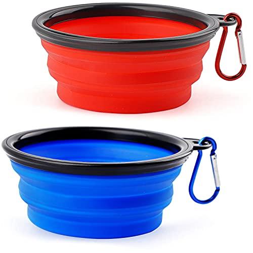 CYWVYNYT Lot de 2 gamelles pour chien - Pliable - Anti-fuite - Avec mousqueton d'alpinisme - Pour chat, chien et animaux domestiques - Pour l'eau et la nourriture (350 ml, bleu et rouge)