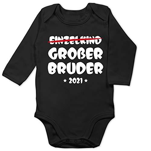 Shirtracer Geschwisterliebe Baby - Einzelkind Großer Bruder 2021-6/12 Monate - Schwarz - ich werde großer Bruder Body 2020 - BZ30 - Baby Body Langarm