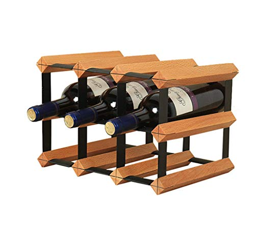 LIYANJJ WWine Bottle Holder 9 Bottles Solid Wood Wine Rack Bar Kitchen Storage Rack Sand