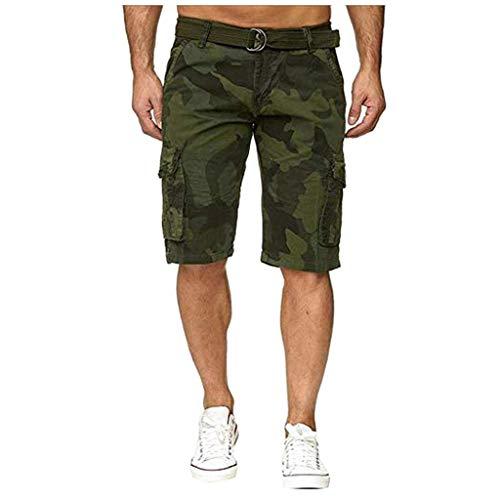 beautyjourney Bermudas de los Hombres Pantalones Cortos de Camuflaje con Multibolsillos Pantalones Cortos de Ropa de Trabajo al Aire Libre Pantalones Cortos de Ocio con cinturón