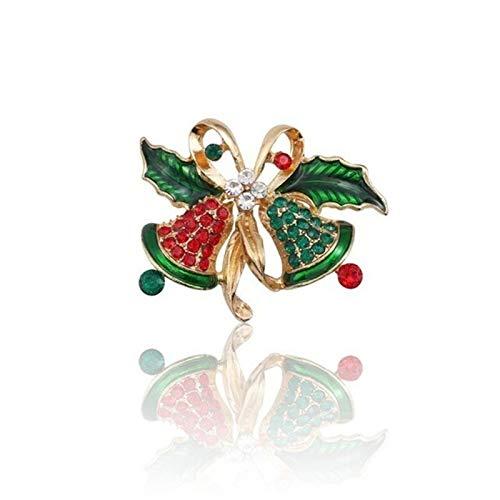 WanXingY Christmas Brooch Pins Women's Christmas Ornament Brooch Rhinestone Enamel Christmas Tree Bell Santa Snowman Wreath Brooch (Color : Bells)