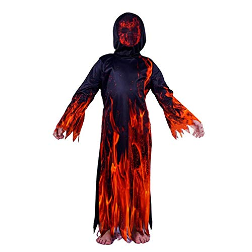Happyyami Costume da Mostro di Halloween Mantello di Fiamma di Demone per 130 cm di Altezza per Bambini Festa di Halloween per Bambini Costumi Costume Cosplay Vestire Abiti