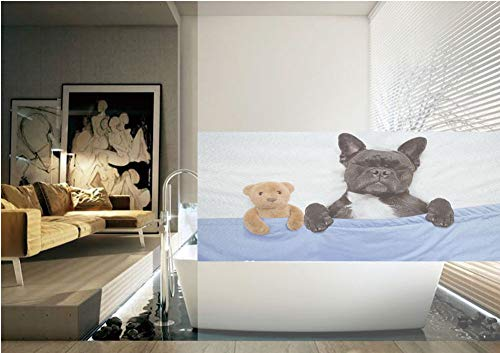 Ylljy00 Animal Decor 3D Window Film,French Bulldog Sleeping with Teddy Bear in Cozy Bed Best Fun Dreams Image No Glue Privacy Frosted Window Glass Films for Home Kitchen Bathroom Office,Multi