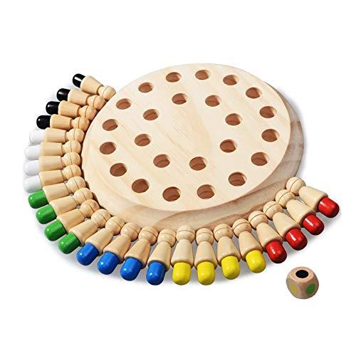Kids Wood Memory Matchstick Ajedrez, juguetes educativos, juegos de mesa para familias con niños, juguete de tablero de ajedrez que desarrolla habilidades cognitivas de los niños