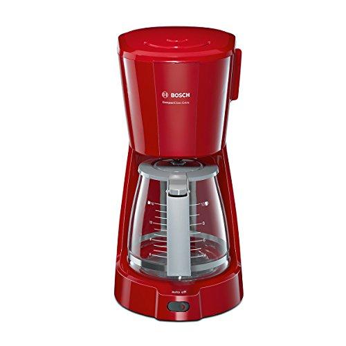 Bosch TKA3A034 CompactClass Extra Filterkaffeemaschine, Tropfstopp, Auto-Off, sicheres Verstauen, 1100 W, rot