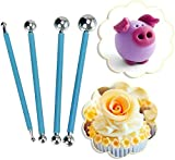 4pcs Sculpture Modeling Tools, Stylus Clay Tools, Dotting Sculpting Modeling Tools Set, Double-Ended Metal Ball, Cake Decoration Tools