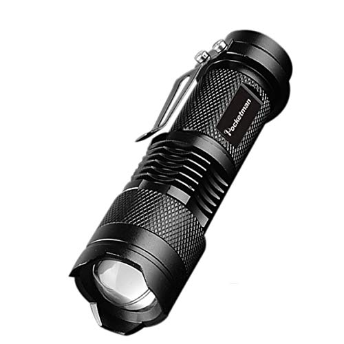 POCKETMAN Mini linterna 7W 300 lúmenes portátil Mini Q5 lámpara táctica LED linterna foco ajustable luz con zoom para regalo, senderismo, camping y corte de energía