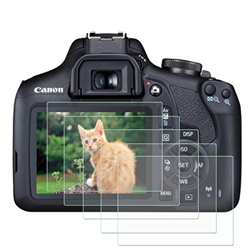 FitHom 9H Hard Tempered Glass Cover Protects Full Cover Camera LCD Screen Protector Compatible for Canon EOS 1500D 1300D 1200D Rebel T7 T6 T5 Kiss X70 X80 (5 Pack)
